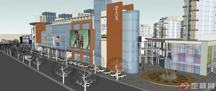 多层商业街综合体建筑概念设计su模型(1)