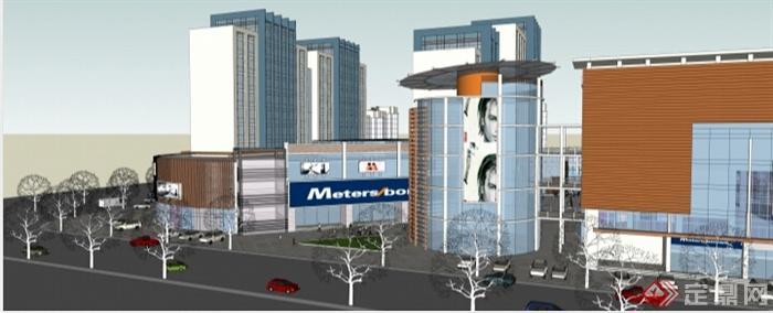 多层商业街综合体建筑概念设计su模型(2)