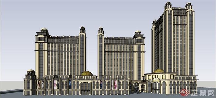 某新古典欧式商业街建筑设计su模型