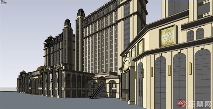 某新古典欧式商业街建筑设计su模型图片