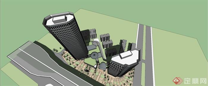 某商业、写字楼、酒店综合区建筑设计SU模型