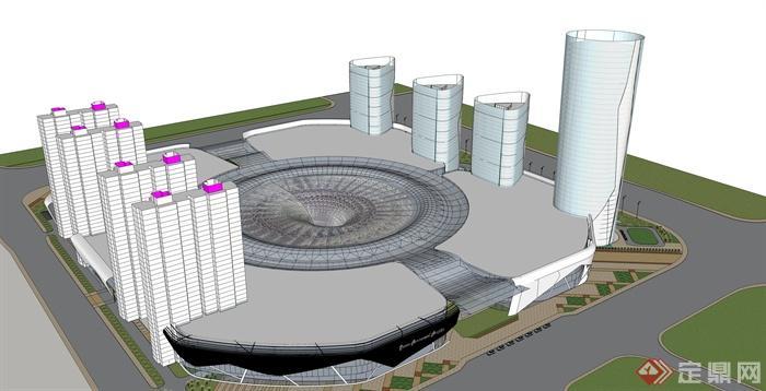 某商业综合体建筑框架设计su模型