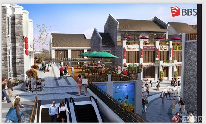 某现代中式商业街建筑设计su模型(带效果图)