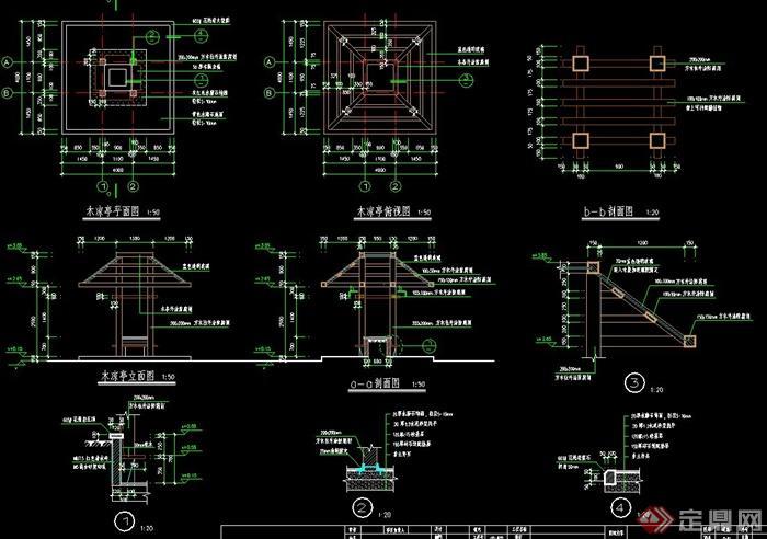 某木亭设计CAD施工图图片