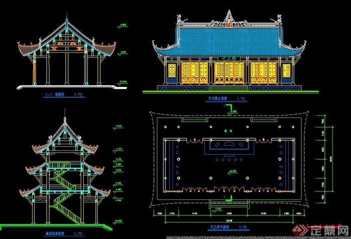 某中式古建寺庙建筑设计cad图纸