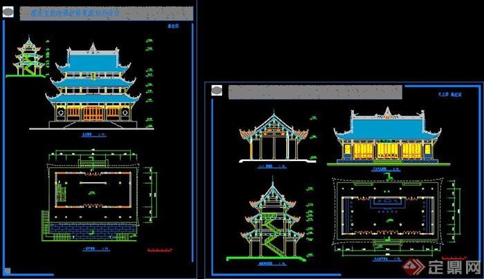 某中式古建寺庙建筑设计cad图纸(2)