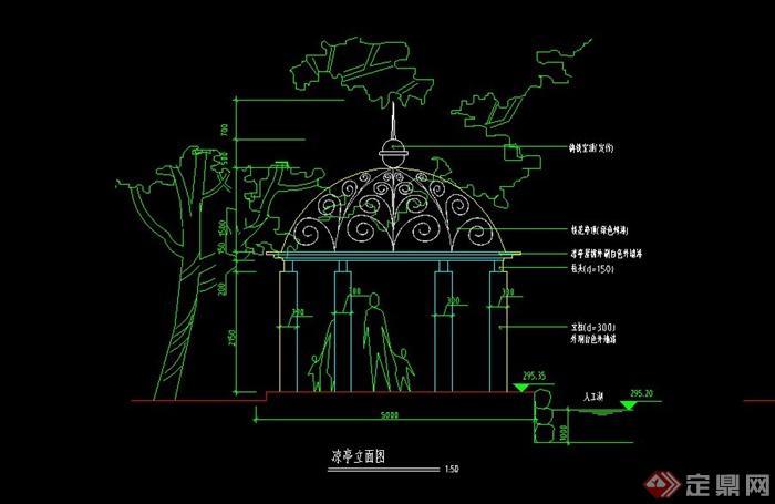 某欧式铁艺花凉亭设计cad施工图
