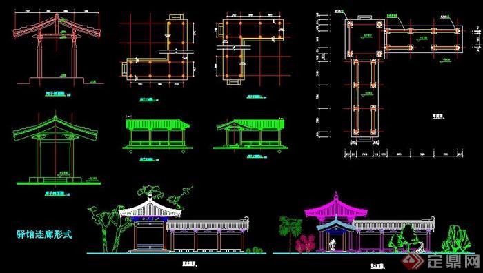 中式园林景观小品_某中式风格连廊设计平立剖面图