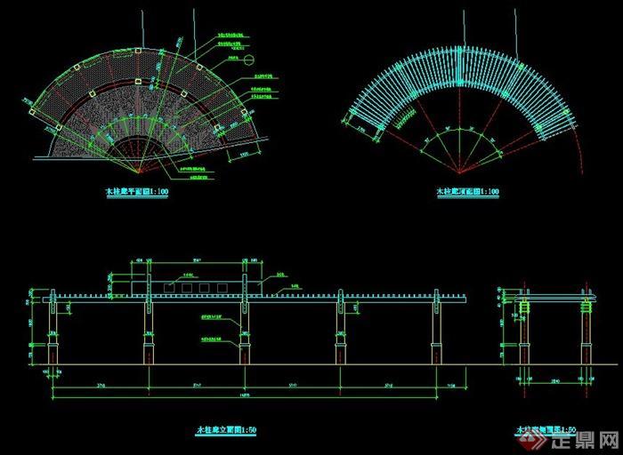 园林景观弧形木柱廊施工图