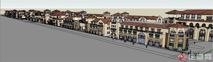 长沙某欧式风格商业街建筑设计su模型