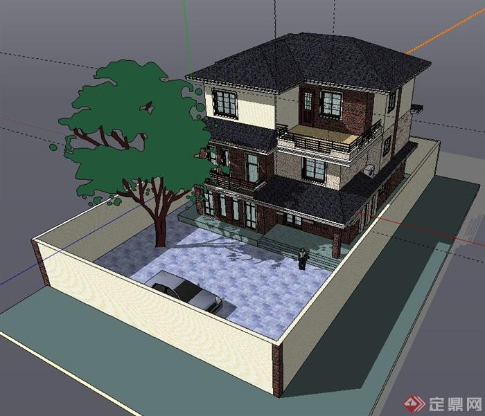 一栋现代三层小别墅建筑设计SU模型图片