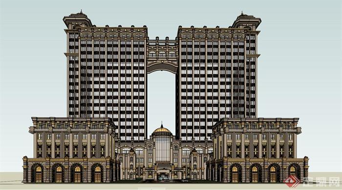 某古典欧式风格奢华酒店建筑设计su模型