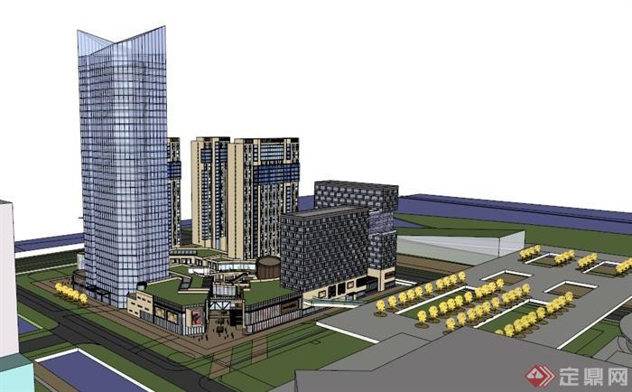 某城市大型商业综合群体建筑设计su模型