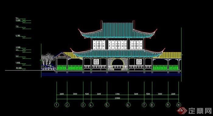 某古典中式两层茶馆建筑设CAD 图图片