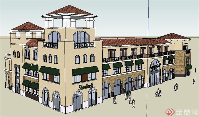 某欧式风格三层商业建筑设计su模型