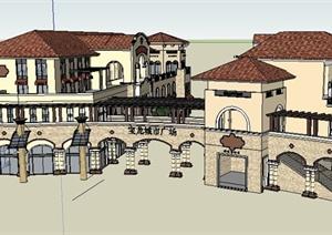 某城市广场欧式商业街建筑设计su(草图大师)模型图片