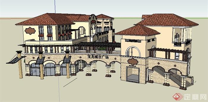 某城市广场欧式商业街建筑设计su模型