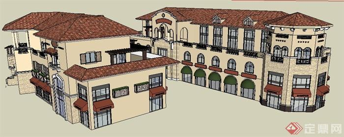 某城市广场欧式商业街建筑设计su模型图片