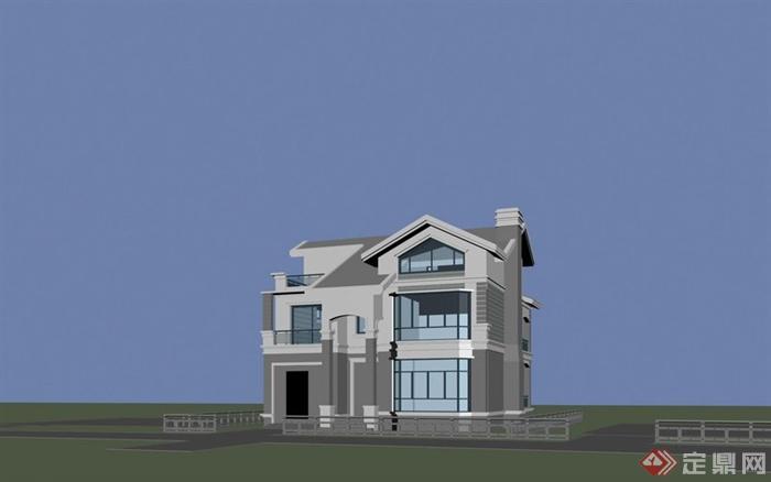某两层半别墅建筑设计3dmax模型
