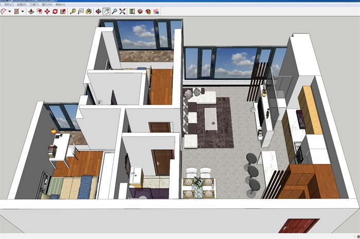 室一厅住宅室内设计su模型,装饰布局紧密协调,现代风格,模型制作精细
