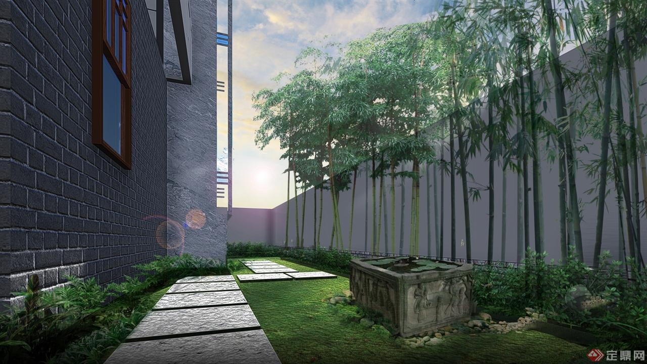 溪麓南郡新中式风格庭院景观设计方案图片