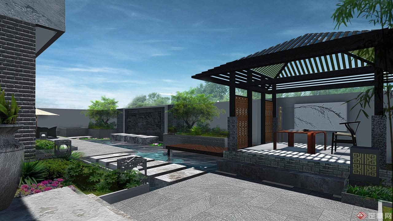 溪麓南郡新中式风格庭院景观设计方案