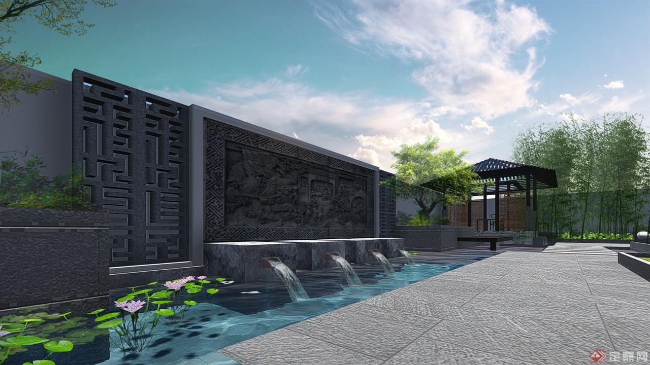 溪麓南郡新中式风格庭院景观设计方案-红土景观