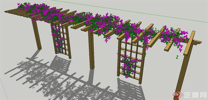 园林景观现代木制花架su模型