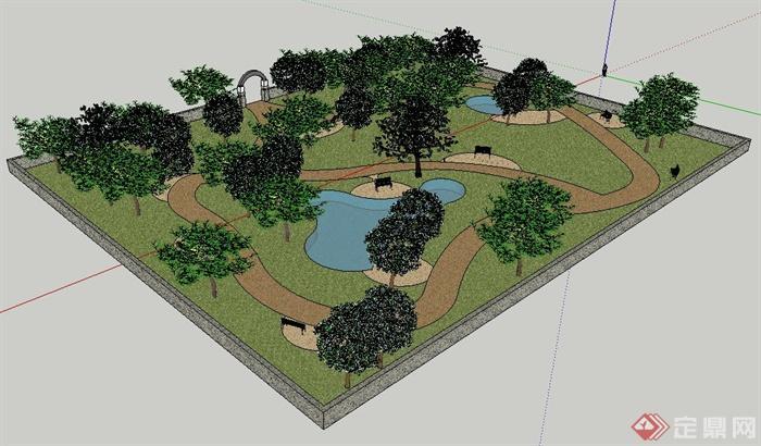园林小游园景观设计su模型