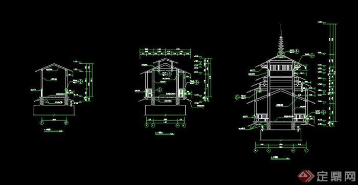 中式欧式立柱装饰建筑cad设计详情尺寸图