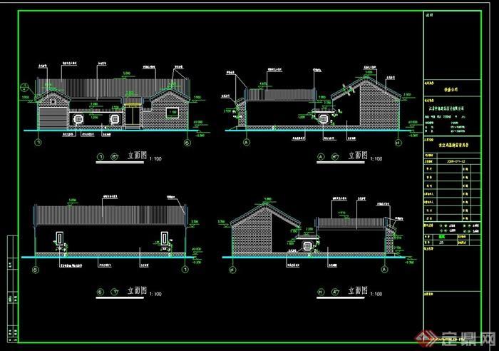 某四合院建筑設計CAD施工圖,內容包含了建筑四個方向立面圖,一層平面圖,剖面圖,屋頂平面圖,大門立面圖和節點大樣圖,具有一定的參考價值,有需要的朋友可以下載使用。