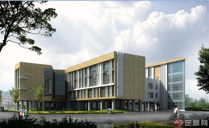 某小学学校教学楼建筑设计su模型 含效果图