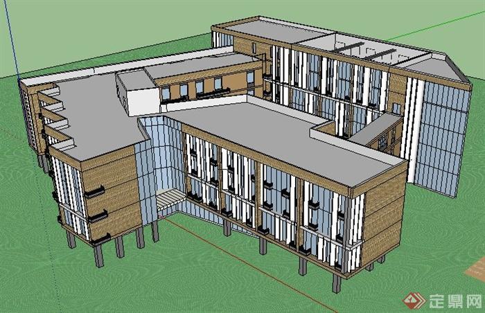 某小学学校教学楼建筑设计su模型(含效果图)(4)