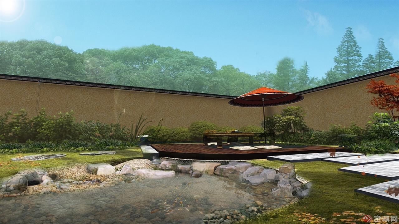 旱河旁庭院休闲区景观效果图
