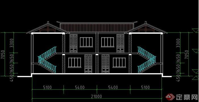 两层古典中式小茶楼建筑设计CAD图图片