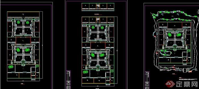 某古典中式四合院设计CAD平面方案图纸