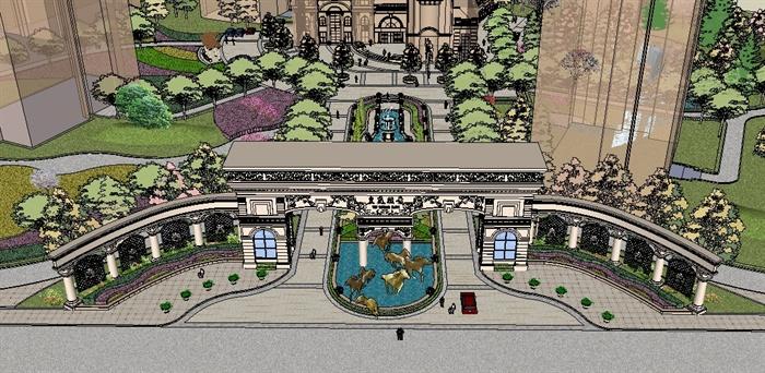 欧式风格小区入口大门景观设计su模型[原创]