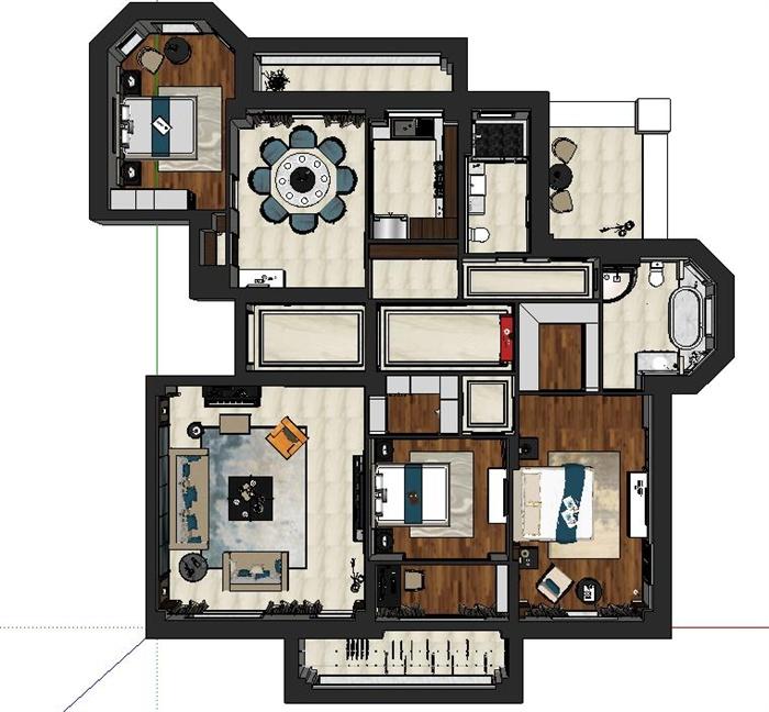 现代三室两厅住宅家装设计su模型[原创]