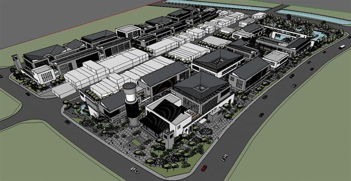 某新中式商业街区建筑设计su模型[原创]