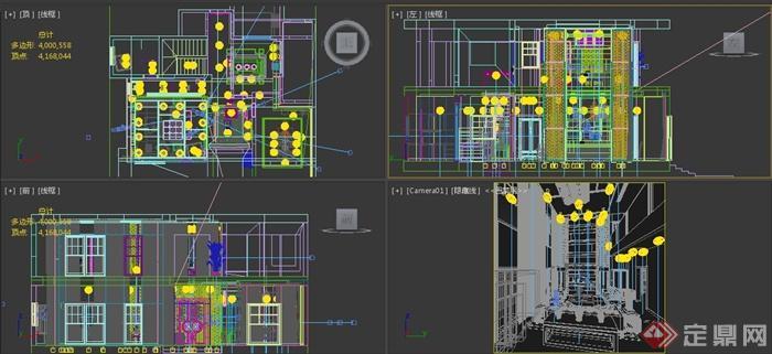 某二层别墅客厅与餐厅室内设计3dmax模型
