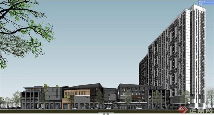 现代中式风格购物中心与高层住宅建筑设计su模型图片