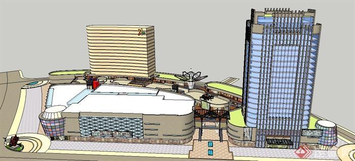 现代风格购物中心及酒店建筑设计su模型