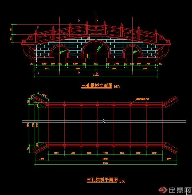 某三孔拱桥v拱桥CAD施工图cad意思什么是标高地形图图片