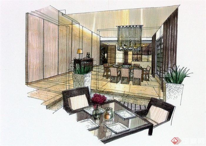 层别墅住宅空间装修设计CAD施工图附手绘图