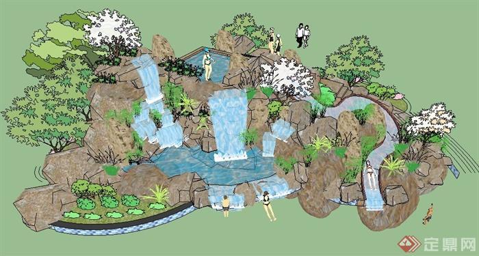 园林景观瀑布假山景观su模型(1)