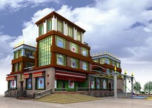某古典中式藏族土库风格别墅建筑设计jpg效果图图片