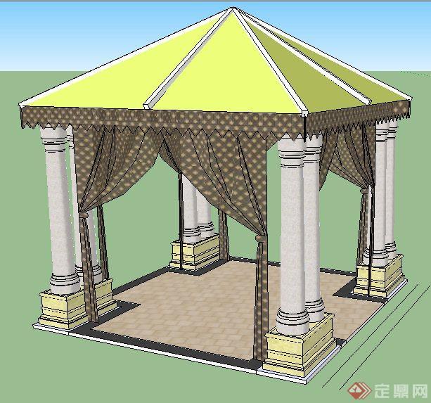 园林景观欧式风格方形凉亭su精致模型