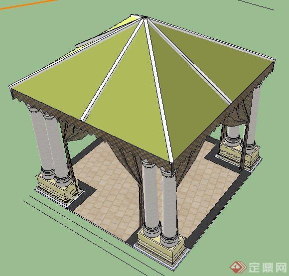 园林景观欧式风格方形凉亭su精致模型(2)