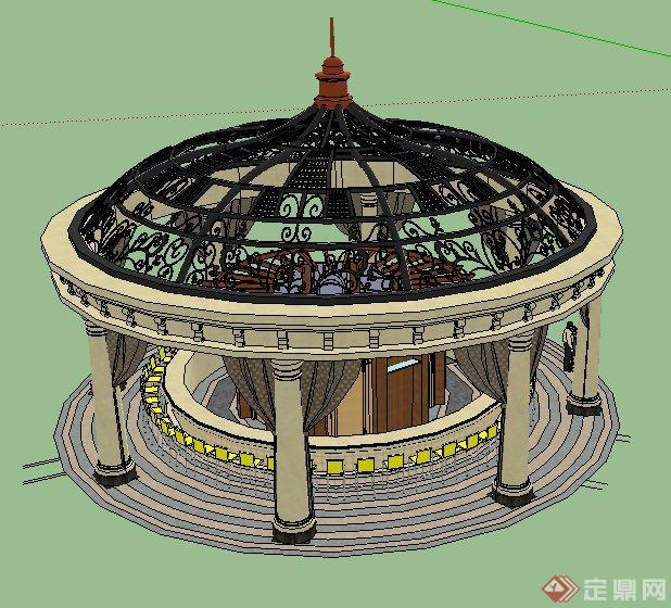 欧式风格圆顶凉亭su精致模型