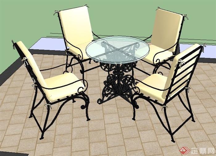 欧式风格铁艺茶几座椅su精致模型